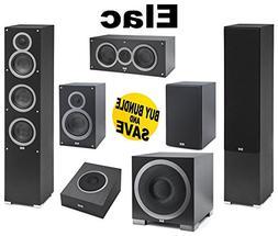 """ELAC - F5 Tower Speakers + ELAC C5 5.25"""" Center + ELAC S10E"""