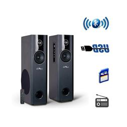 2 1ch bluetooth powered tower speakers fm