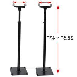 2 Surround Sound Bookshelf Floor Speaker Stands Side Clamp H