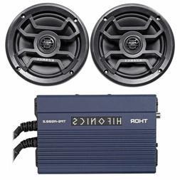 "2) Hifonics TPS-CM65B 6.5"" 240w Marine Speakers+2-Ch Amp 4 B"