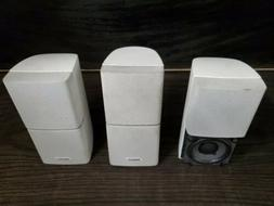 3 Bose Double Cube Speakers White Surround Lifestyle as pict