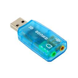 3D Audio Card USB 1.1 Mic/Speaker Adapter <font><b>Surround<