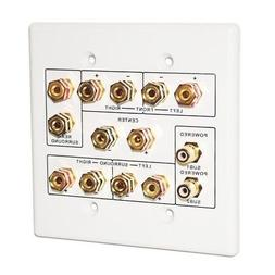 6.2 Surround Sound Speaker Wall Plate Dual 2-Gang White Outl