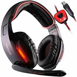 7.1 Surround Sound Stereo Pro PC USB Gaming Headsets Headban
