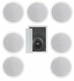 """8 FLUSH MOUNT IN-CEILING SPEAKERS 7.1 HOME THEATER 10"""" SUBWO"""