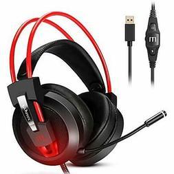 Gaming Headset, Prymax Gaming Headphones USB 7.1 Surround So