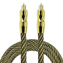 Optical Audio Cable 6 Feet  Fiber Gold Plated Toslink Digita