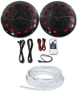 """Rockville 2 6.5"""" 600w ATV/UTV/RZR/CART/Polaris Speakers+Mult"""