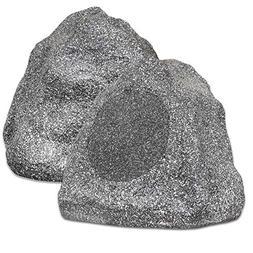 "Theater Solutions 2R8G Outdoor Granite 8"" Rock 2 Speaker Set"