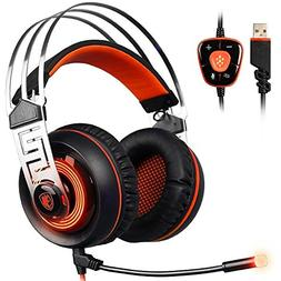 SADES A7 7 7.1 Surround Sound Stereo Gaming Headset USB LED
