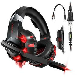 LED Gaming Headset Stereo Surround Sound Noise Canceling Hea