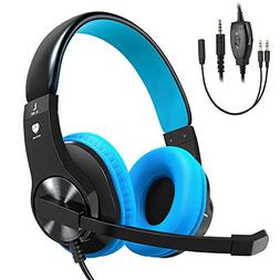 Bovon Gaming Headset for PS4 Xbox One, Lightweight Stereo Ov