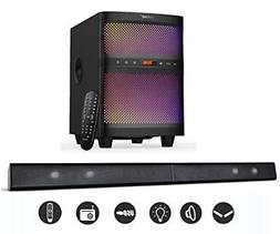 Lugulake Bt Sound Bar Speaker System With Subwoofer Led Ligh