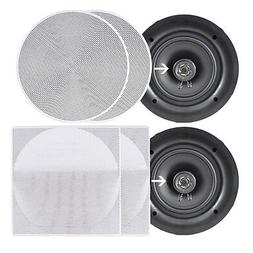 "8.0"" Ceiling Wall Mount Speakers - Pair of 2-Way Full Rang"