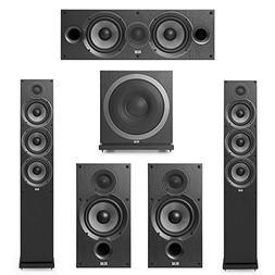 Elac 5.1 System with 2 Debut F6 Floorstanding Speakers 1 Debut S10 Subwoofer 2 Debut B6 Bookshelf Speakers 1 Debut C5 Center Speaker