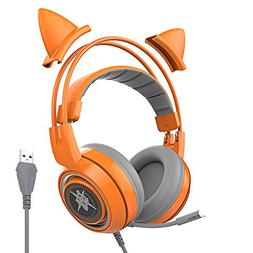 SOMIC G951orange Gaming Headset with USB Work with PC, PS4,