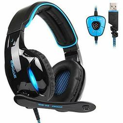 Gaming Headphones USB Surround Sound PC Headsets Over-Ear Mi
