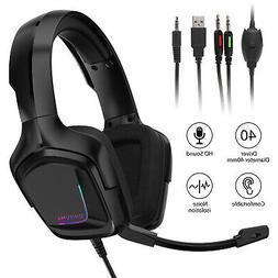 Gaming Headset RGB Surround Sound Mic USB Headphones 3.5mm F