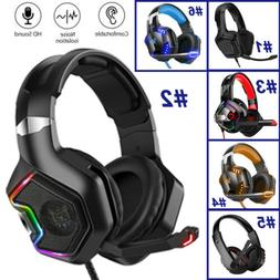 Gaming Headset Surround Sound Wired Mic Headphones 3.5mm For
