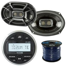JBL PRV175 Gauge Marine Bluetooth Receiver 2x JBL MS9520 6x9