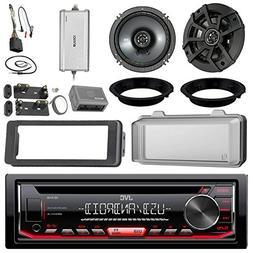 "JVC KDR490 CD Receiver Bundle/2 Kicker 6.5"" Speaker + Motorc"
