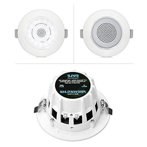 """3.5"""" Ceiling Wall Speakers 2-Way Range Speaker Flush Light Aluminum 60Hz - 20kHz Response & 280 Peak - Pyle PDIC4CBTL35B"""