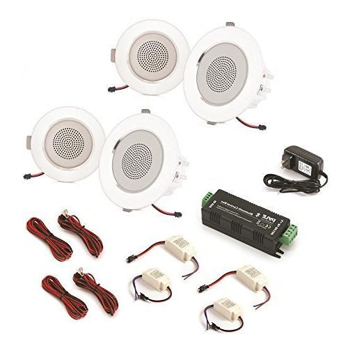"""3.5"""" Ceiling Wall Speakers - 2-Way Range Speaker Flush Design w/Bluetooth LED Light 60Hz - Response 280 Peak"""