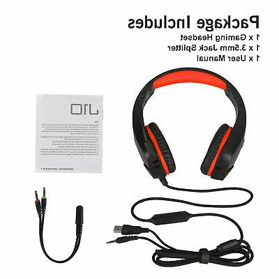 3.5mm Gaming Headset Headphones LED Surround Sound Wired for One