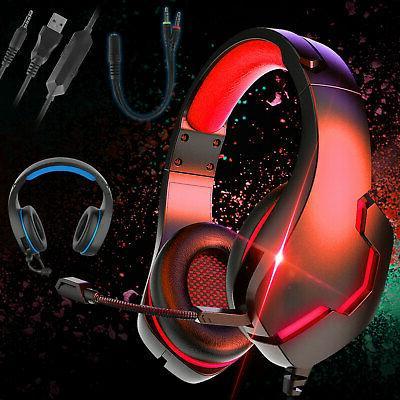 3 5mm gaming headset headphones led mic