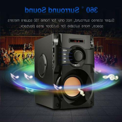 360° Surround Speaker Home 3D Stereo Subwoofer MP3 FM