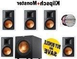 """5 Klipsch R-3800-W II 8"""" In-Wall Speaker - Each  + Klipsch R"""
