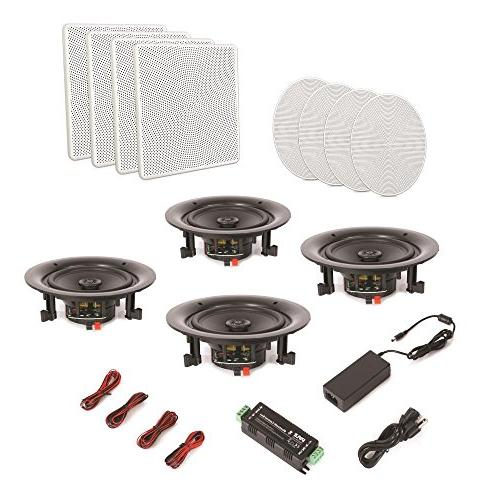 """Pyle 8"""" 4 Flush In-wall 2-Way Speaker Quick Connections Polypropylene Cone Stereo Ch Amplifier 250 Watt"""