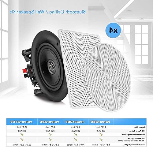 """Pyle 8"""" Flush In-ceiling 2-Way Connections Polypropylene Stereo 4 Amplifier"""
