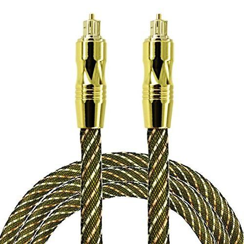 Optical Audio Cable 6 Feet  Fiber Gold Plated Toslink Digita