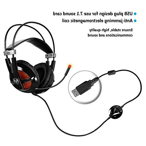 Somic 7.1 Surround for PC, Compatible with PS4 and Laptop, Mic and plug
