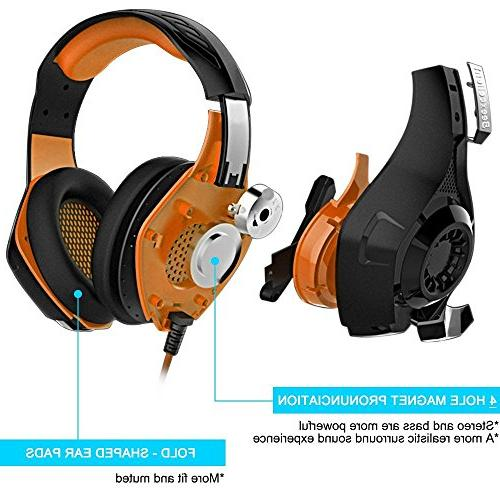 Beexcellent Headset with Microphone for Xbox PS4 Smart Laptops- Surround Sound, Noise Reduction Easy Volume LED Lighting