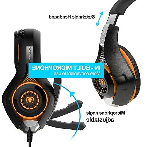 Beexcellent Gaming Microphone Laptops- Reduction Game Earphone - Easy Volume LED Lighting