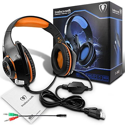 Beexcellent Gaming Headset Microphone for PS4 Laptops- Surround Reduction Easy LED 3.5MM
