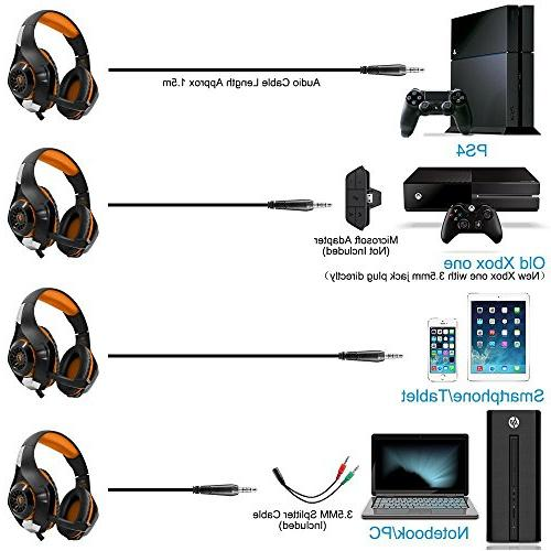 Beexcellent Microphone Xbox PS4 Laptops- Sound, Reduction Easy Volume LED Lighting