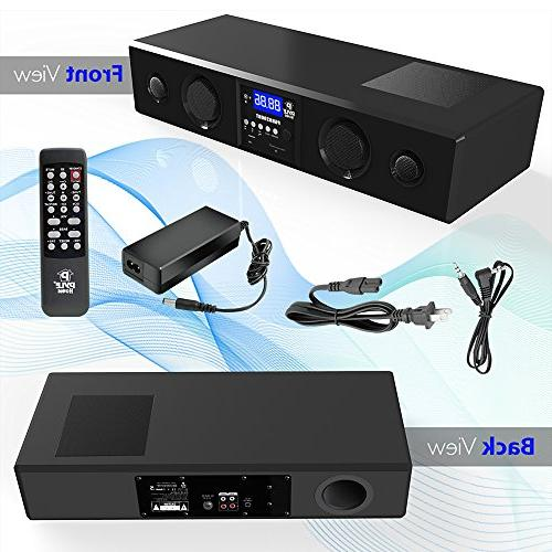 Pyle 3D Bluetooth Soundbar Sound Bass Speakers TV, USB, SD, Radio with Input , For Home Theater, -