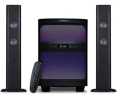 LuguLake Soundbar, TV Sound with Bluetooth, Floor Speaker, Lights, Reader, Remote Control