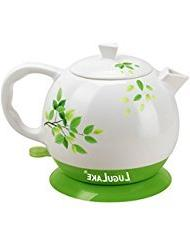 LuguLake Ceramic Teapot Electric Kettle Water Boiler 1.3L