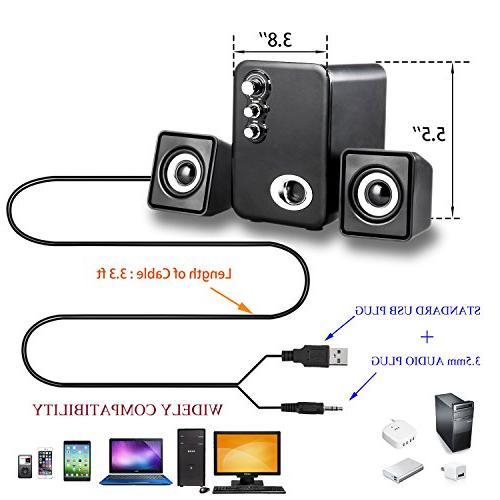 Powered Desktop Speakers, IPAD, Phone, Bass&Treble