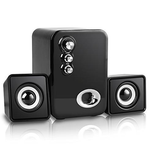 Computer Speakers, MeetuoSound Powered 2.1 Desktop Laptop for Laptops, IPAD, Mobile Bass&Treble