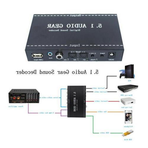 Digital Surround Sound Decoder 5.1 Converter plug