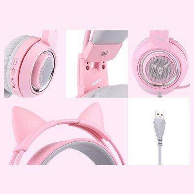 SOMIC Headset Surround Sound Girl Pink with Z4M9