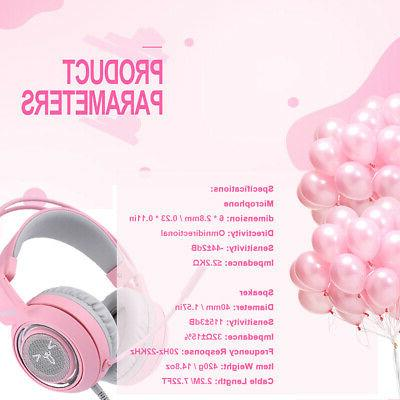 SOMIC Earphone Headphone USB Headset Pink with