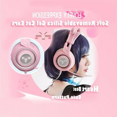 SOMIC Headphone USB Pink with Cat Ear Z4M9