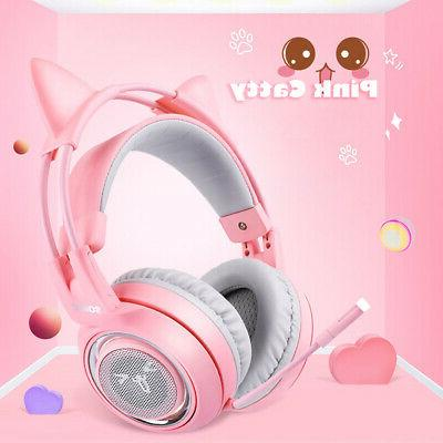 SOMIC Earphone Headset Pink Cat Z4M9