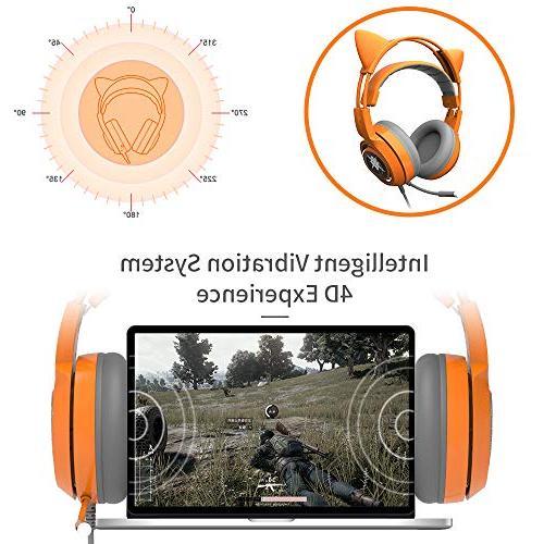 SOMIC G951orange Headset with USB Work PC, Virtual Surround Sound Cat Headphones Lightweight Headphones Women